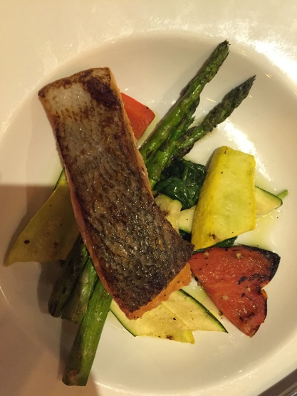 Salmon and grilled vegetables at Taverne Gaspar