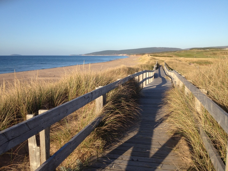 Boardwalk along Inverness Beach, with Cabot Links to the right