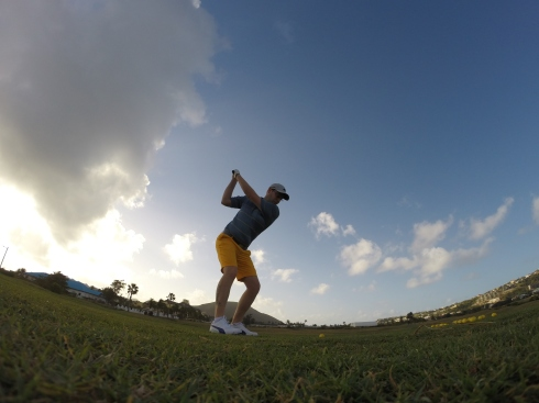 On the driving range at Royal St. Kitts