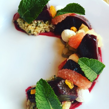 Fresh and fruity beet salad was the perfect start to a springtime meal