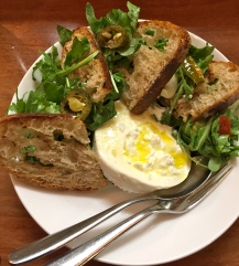 Burrata with arugula and toasted sourdough